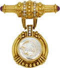 Estate Jewelry:Brooches - Pins, Diamond, Mother-of-Pearl, Ruby, Gold Brooch, Judith Ripka. ...