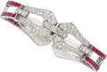 Estate Jewelry:Bracelets, Diamond, Ruby, Platinum Bracelet, M. Waslikoff & Sons. ...