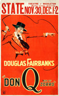 """Movie Posters:Swashbuckler, Don Q, Son of Zorro (United Artists, 1925). Window Card (13.5"""" X 22"""").. ..."""