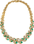 Estate Jewelry:Necklaces, Emerald, Diamond, Platinum, Gold Necklace, David Webb. ...