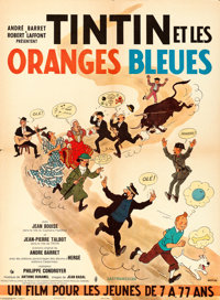 """Tintin and the Blue Oranges (Pathe Consortium Cinema, 1964). French Affiche (23"""" X 31.25"""") Hergé Artwor..."""