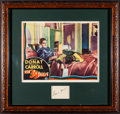 "Movie Posters:Hitchcock, The 39 Steps (Gaumont, 1935). Framed Lobby Card (11"" X 14"") &Autographed Card (2.5"" X 3.25""). Hitchcock.. ..."