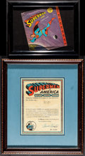 """Movie Posters:Action, Framed Superman Lot (1950s & 1960s). 45 RPM Record Sleve (7"""" X 8"""") & Fan Club Certificate (8.5"""" X 11""""). Action.. ... (Total: 2 Items)"""