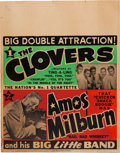 Music Memorabilia:Posters, The Clovers/Amos Milburn Concert Poster (1953). Extremely Rare....