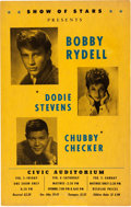 Music Memorabilia:Posters, Chubby Checker/Bobby Rydell Civic Auditorium Concert Poster (1961).Very Rare....
