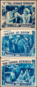 """Movie Posters:Serial, Jungle Jim & Other Lot (Universal, 1937). Lobby Cards (3) (11"""" X 14""""). Chapters 2, 6, & 9. Serial.. ... (Total: 3 Items)"""