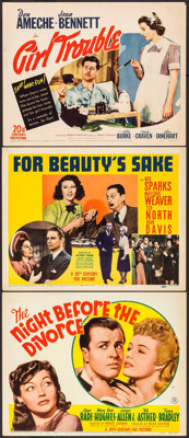 "The Night Before the Divorce & Others Lot (20th Century Fox, 1942). Title Lobby Cards (3) (11"" X 14""). Com..."