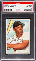 Baseball Cards:Singles (1950-1959), 1952 Bowman Willie Mays #218 PSA EX-MT 6....