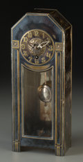 Timepieces:Clocks, WMF Secessionist-Style Silver-Plated Clock. Circa 1900-1918. Stamped OX, (WMF-ostrich-G), I/O. Ht. 12-1/4 x 4-3/4 x 2-3/4 in...