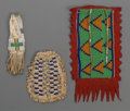 American Indian Art:Beadwork and Quillwork, Three Plains Beaded Hide Pouches... (Total: 3 Items)