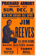 Music Memorabilia:Posters, Jim Reeves/Grand Ole Opry Prichard Armory Concert Poster (1956).Very Rare. ...