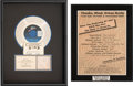 Music Memorabilia:Awards, Michael Jackson - RIAA Gold Award and Hit Records Plaque (Epic,1987/1991).... (Total: 2 Items)