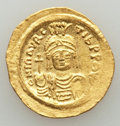 Ancients:Byzantine, Ancients: Maurice Tiberius (AD 582-602). AV solidus (4.37 gm).Choice XF, clipped....