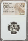 Ancients:Greek, Ancients: CALABRIA. Tarentum. Ca. 272-240 BC. AR stater or didrachm(6.55 gm). NGC XF 5/5 - 4/5....