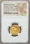 Ancients:Byzantine, Ancients: Heraclius (AD 610-641) & Heraclius Constantine (AD613-641). AV solidus (4.48 gm). NGC MS 4/5 - 3/5....