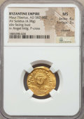 Ancients:Byzantine, Ancients: Maurice Tiberius (AD 582-602). AV solidus (4.38 gm). NGC MS 4/5 - 3/5, clipped....