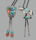 American Indian Art:Jewelry and Silverwork, Two Zuni Bolo Ties... (Total: 2 Items)