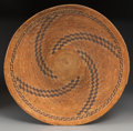 American Indian Art:Baskets, A Rare Chumash Polychrome Coiled Tray...