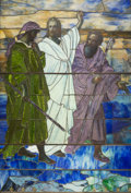 Art Glass, Tiffany Studios Leaded Favrile Glass Window: Christ on the Road to Emmaus. Circa 1912-1917. Ht. 105 x 68-1/2 in....