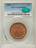 Large Cents, 1850 1C MS64 Red and Brown PCGS. CAC. PCGS Population: (175/116). NGC Census: (91/108). CDN: $550 Whsle. Bid for problem-fr...