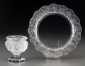 Art Glass:Lalique, Lalique Clear and Frosted Glass Tete de Lion Urn and LilyPad Plate. Post-1945. Engraved Lalique, ... (Total: 2Items)