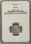 Bust Dimes, 1828 10C Small Date, Square Base 2, AU53 NGC. PCGS Population:(8/47). Mintage 125,000. ...