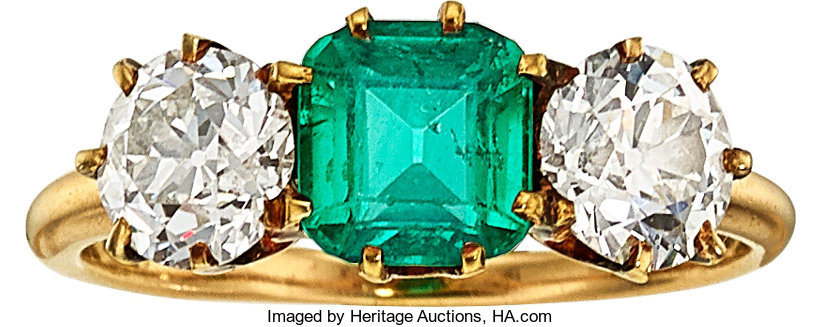 Estate Jewelry:Rings, Antique Emerald, Diamond, Gold Ring, Bailey, Banks
