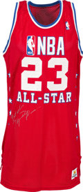 Autographs:Bats, 1989 Michael Jordan Vintage Signed All-Star Game Pro-Cut Jersey,MEARS A10....