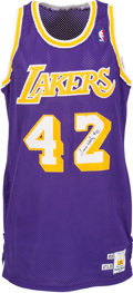 Basketball Collectibles:Publications, 1988-89 James Worthy Game Worn Los Angeles Lakers Jersey, MEARS A10. ...