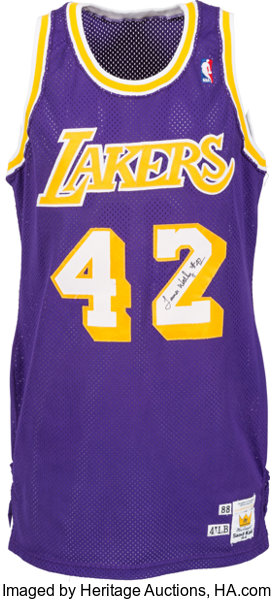 cheap for discount 09d3e 4c830 1988-89 James Worthy Game Worn Los Angeles Lakers Jersey ...