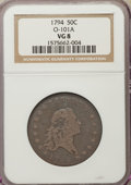 Early Half Dollars, 1794 50C O-101a, T-7, High R.3, VG8 NGC. NGC Census: (7/59). PCGSPopulation: (2/23). VG8 . ...