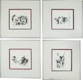 "Olympic Collectibles:Autographs, 1980 Leroy Neiman Signed ""Miracle on Ice"" Sketches Lot of 4. ..."