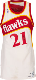 Basketball Collectibles:Uniforms, 1986-87 Dominique Wilkins Game Worn & Signed Atlanta HawksJersey....