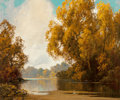Fine Art - Painting, American, A.D. Greer (American, 1904-1998). Fall Lakeside. Oil oncanvas. 30 x 36 inches (76.2 x 91.4 cm). Signed lower left:AD...