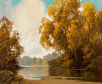 A.D. Greer (American, 1904-1998) Fall Lakeside Oil on canvas 30 x 36 inches (76.2 x 91.4 cm) S