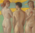 Fine Art - Work on Paper, Dickson Reeder (American, 1912-1970). The Judgement of Paris. Pastel on paper. 11 x 11-1/2 inches (27.9 x 29.2 cm) (sigh...