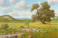 Fine Art - Painting, American, Don Warren (American, 1935-2006). Cattle in Spring. Oil oncanvas. 24 x 36 inches (61.0 x 91.4 cm). Signed lower left: ...