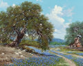 Fine Art - Painting, American, William A. Slaughter (American, 1923-2003). Field ofBluebonnets, 1977. Oil on canvas. 16 x 20 inches (40.6 x 50.8cm). ...