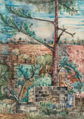 Works on Paper, Bill Bomar (American, 1919-1991). Maine Landscape. Mixed media on paper. 30-1/2 x 22 inches (77.5 x 55.9 cm) (sight). Si...
