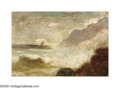 American:Hudson River School, Style of ALFRED THOMPSON BRICHER (American 1837-1908). Crashing Surf. Oil on panel. 4in. x 6in.. Signed lower right: ABr...
