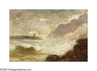 Style of ALFRED THOMPSON BRICHER (American 1837-1908) Crashing Surf Oil on panel 4in. x 6in. Signed lower right: ABr