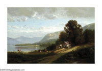 WILLIAM HART (American 1823-1894) Lake George, 1873 Oil on board 9in. x 14.25in. Signed lower left Inscribed on rev