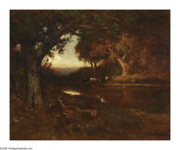 WILLIAM KEITH (American 1838-1911) Landscape with Cows Oil on canvas 22in. x 27in. Signed lower right 'W. Keith, S.F