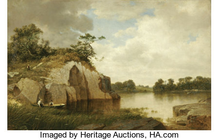 DAVID JOHNSON (American 1827-1908)Catnip Island, Near Greenwich, CT, 1878/79Oil on canvas22in.x 34in.Signed with...