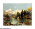 American:Western, THOMAS MORAN (American 1837-1926). Mountain Lake.Chromolithograph on paper . 22in. x 28in. . Printed signature (withTY...