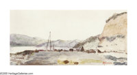 THOMAS MORAN (American 1837-1926) Coastal Sketch Watercolor on paper 3.25in. x 6.75in. Signed lower right