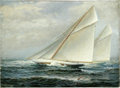 American:Marine, JAMES GALE TYLER (American 1855-1931). America's Cup Racing,1914. Oil on canvas. 24in. x 33in.. Signed and dated lower ...