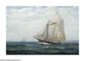 American:Marine, JAMES GALE TYLER (American 1855-1931). Cruising Yacht. Oil on canvas. 20in.x 30in.. Signed lower left. ...