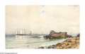 American:Marine, ALFRED THOMPSON BRICHER (American 1837-1908). Coastal Rocks withSailboats, 1881. Watercolor on paper. 11in. x 18.5in.. ...