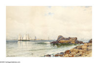 ALFRED THOMPSON BRICHER (American 1837-1908) Coastal Rocks with Sailboats, 1881 Watercolor on paper 11in. x 18.5in